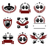 Fitness labels and icons set. Vector Royalty Free Stock Photos