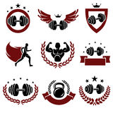 Fitness labels and icons set. Vector Stock Photo