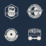 Fitness labels. Set of sport fitness labels in vintage style with kettlebell, barbell and dumbbell. Vector illustration Stock Image