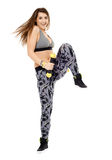 Fitness lady doing cardio dance Royalty Free Stock Images