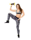 Fitness lady doing cardio dance Stock Images