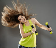Fitness lady doing cardio dance Royalty Free Stock Photos