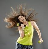 Fitness lady doing cardio dance Stock Photo