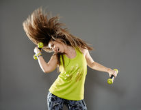 Fitness lady doing cardio dance Stock Photos
