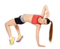 Fitness lady stretching Stock Photo