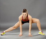 Fitness lady stretching Stock Image