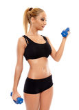 Fitness lady working with dumbbells Stock Photos