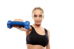 Fitness lady working with dumbbells Royalty Free Stock Images