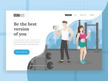 Fitness landing page. Landing page template of Fitness. Landing page concepts for fitness sport website. People work out in gym, Fitness website design, Modern stock illustration
