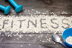 Fitness letters of oatmeal healthy lifestyle concept Royalty Free Stock Images