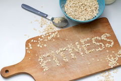 Fitness letters of oatmeal healthy lifestyle concept Stock Photos