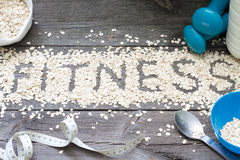 Fitness letters of oatmeal healthy lifestyle concept Stock Images