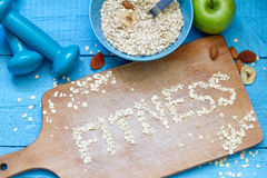 Fitness letters of oatmeal healthy lifestyle concept Royalty Free Stock Photo