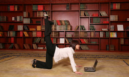 Fitness in library Royalty Free Stock Photography