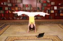 Fitness in library Stock Photography