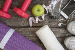 Fitness lifestyle concept with sport equipment Royalty Free Stock Images