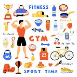 Fitness lifestyle, cute doodle set with lettering. Funny cartoon strong man. Healthy food. Hand drawn vector flat illustration stock photo