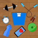Fitness lifestyle vector. Music and sport, lose and activity fitness illustration stock illustration
