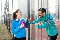 Fitness lifestyle of young couple. Fitness lifestyle of young beautiful healthy couple Royalty Free Stock Photo