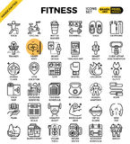 Fitness line icon set. Fitness, sport, gym, health detailed line icons set in modern line icon style concept for ui, ux, web, app design royalty free illustration