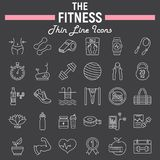 Fitness line icon set, sport symbols collection. Vector sketches, logo illustrations, healthy diet signs linear pictograms package isolated on black background Royalty Free Stock Photo