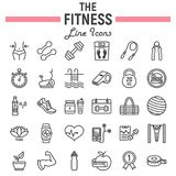 Fitness line icon set, sport symbols collection. Vector sketches, logo illustrations, healthy diet signs linear pictograms package isolated on white background Royalty Free Stock Image