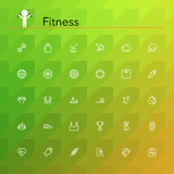 Fitness Line Icons. Fitness and a healthy lifestyle line icons set. Vector illustration. Geometric background Stock Photo