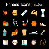 Fitness line icons set. Fitness icons set. Colorful symbols of healthy lifestyle diet food training and sport equipment vector illustration. Flat style design Royalty Free Stock Photo