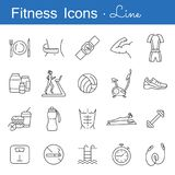 Fitness line icons set. Outline symbols of healthy lifestyle diet food training and sport equipment vector illustration. Flat style design. Isolated on white Royalty Free Stock Image