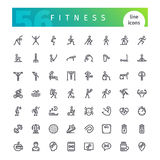 Fitness Line Icons Set. Set of 56 fitness line icons suitable for web, infographics and apps. Isolated on white background. Clipping paths included vector illustration