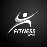 Fitness logo with abstract healthy body wellness icon. Vector illustration Royalty Free Stock Photo