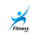 Fitness logo with abstract healthy body wellness icon. Vector illustration Royalty Free Stock Photography
