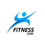 Fitness logo with abstract healthy body wellness icon. Vector illustration. Athlete Fitness logo with abstract blue healthy body wellness icon  on white Royalty Free Stock Photography