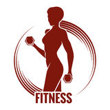 Fitness Logo. Or emblem with muscled woman silhouettes. Woman holds dumbbells. Only free font used vector illustration