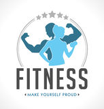 Fitness logo. Man and woman royalty free illustration