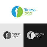 Fitness logo with negative space. And woman silhouette royalty free illustration