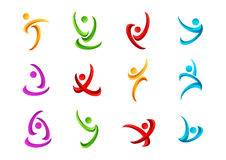 Fitness,logo,people,active,symbol,health,sport,wellness,yoga and body vector icon design Royalty Free Stock Images