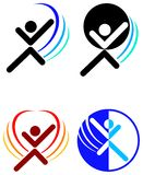 Fitness logo set. Illustrated line art fitness logo set stock illustration