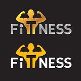 Fitness Logo. Fitness Sportsman Silhouette Logo Template. Power strength man icon vector illustration