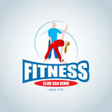 Fitness logo template. Man and woman fitness . Gym club logotype. Sport Fitness club creative concept.  stock illustration