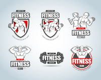 Fitness logo templates set. Gym club logotypes. Sport Fitness club creative concepts. Gym club logotypes. royalty free illustration