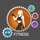 Fitness logo. Woman in vector stock illustration