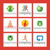 Fitness Logos. An illustrated set of logos for fitness related companies Stock Photos