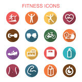 Fitness long shadow icons. Flat vector symbols Stock Images