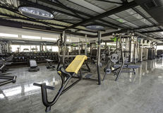 Fitness machines in gym club Royalty Free Stock Photo