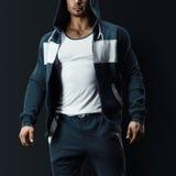 Fitness male model in sweatshirt Royalty Free Stock Image