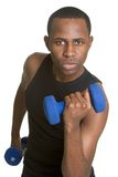 Fitness Man. Handsome isolated black fitness man royalty free stock photography