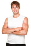 Fitness man athlete on white stock images