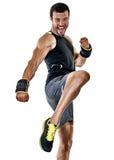 Fitness man cardio boxing exercises isolated Stock Photos