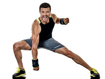 Fitness man cardio boxing exercises isolated Stock Images